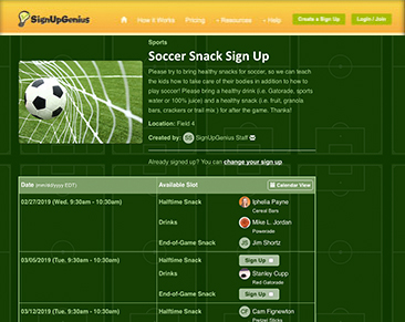 sign up for sports