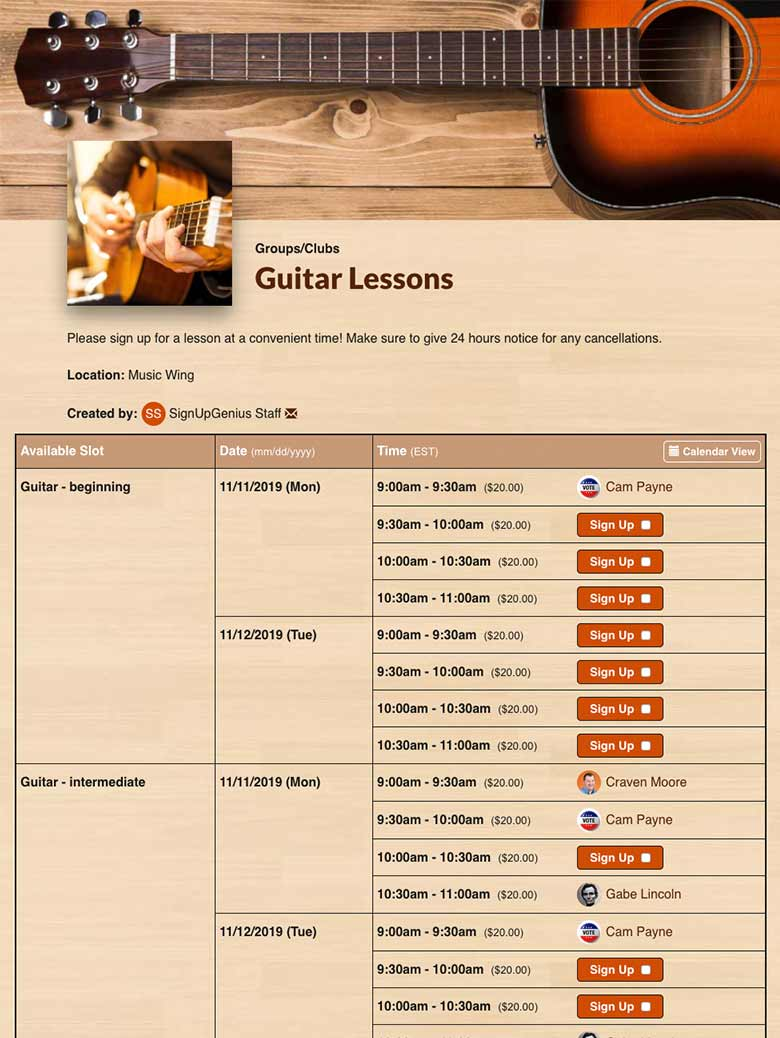 Manage Music Lessons