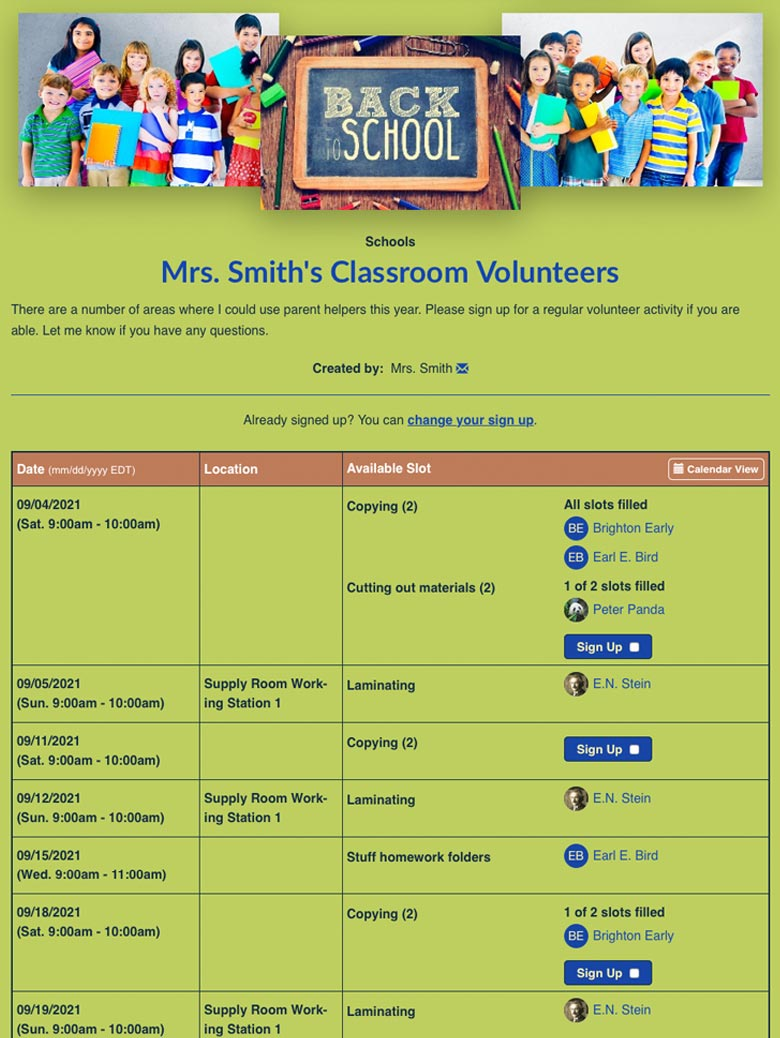 Mrs. Smith's Classroom Volunteers