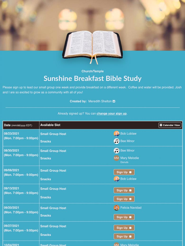 Sunshine Breakfast Bible Study