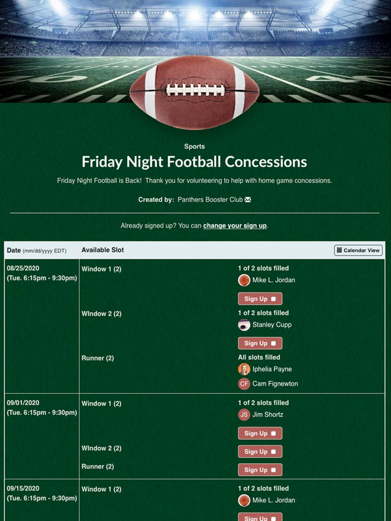 Friday Night Football Concessions