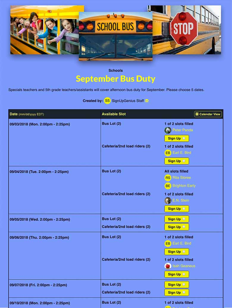 Schedule Bus Duty Times