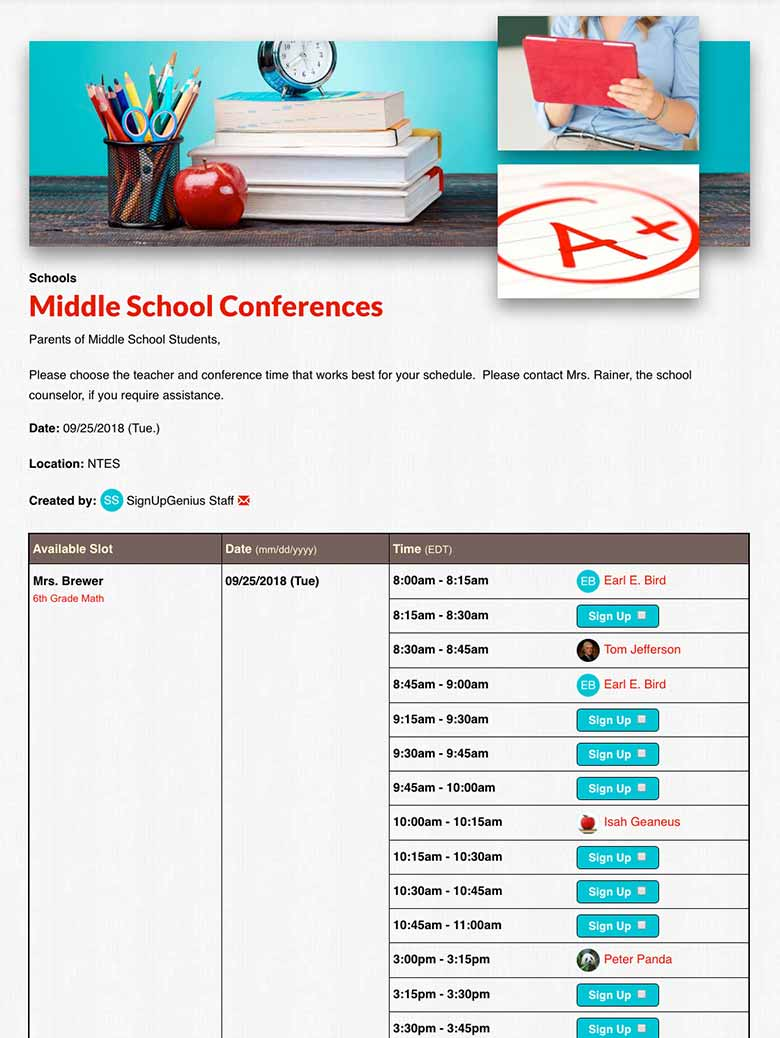 Schedule Parent Teacher Conferences