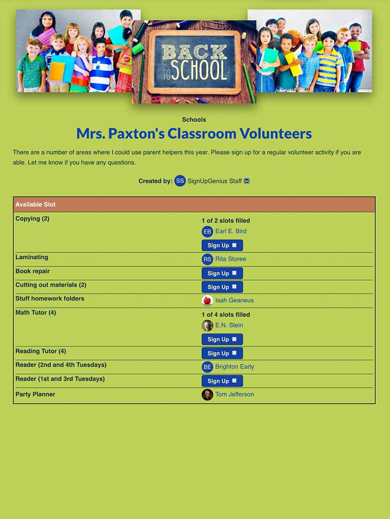 Coordinate Classroom Volunteers