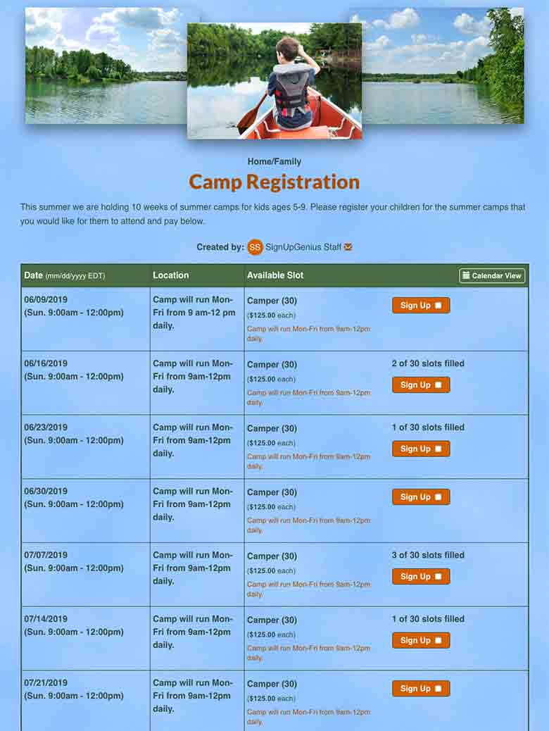 Register Summer Camp Participants