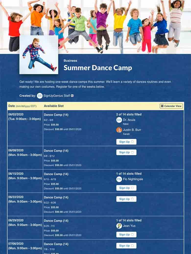 Plan Dance Camp