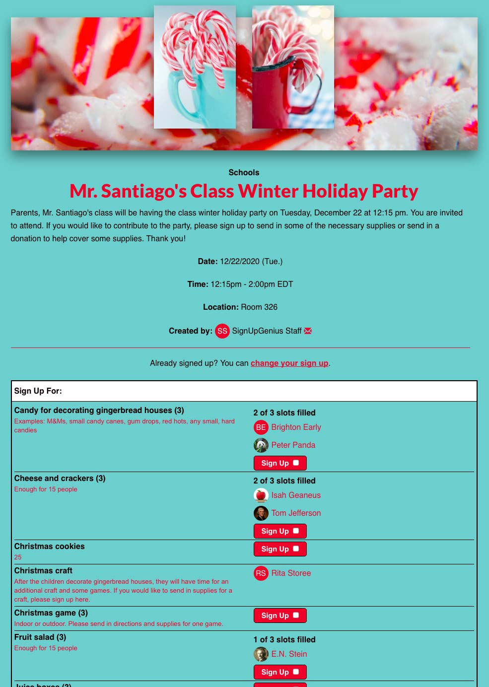 christmas party or holiday potluck planning with signupgenius