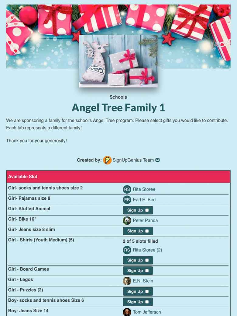 Collect Angel Tree Donations