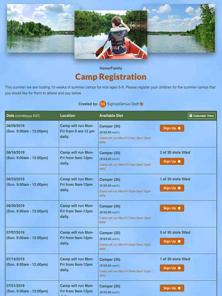 Collect Camp Registrations