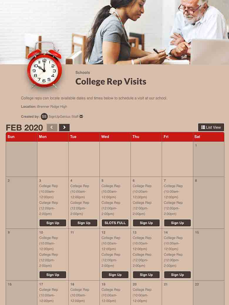 Schedule College Rep Visits