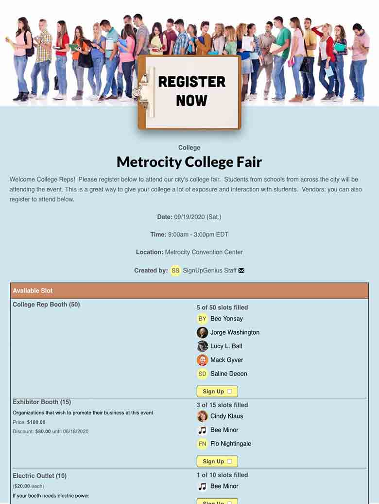 Organize a College Fair