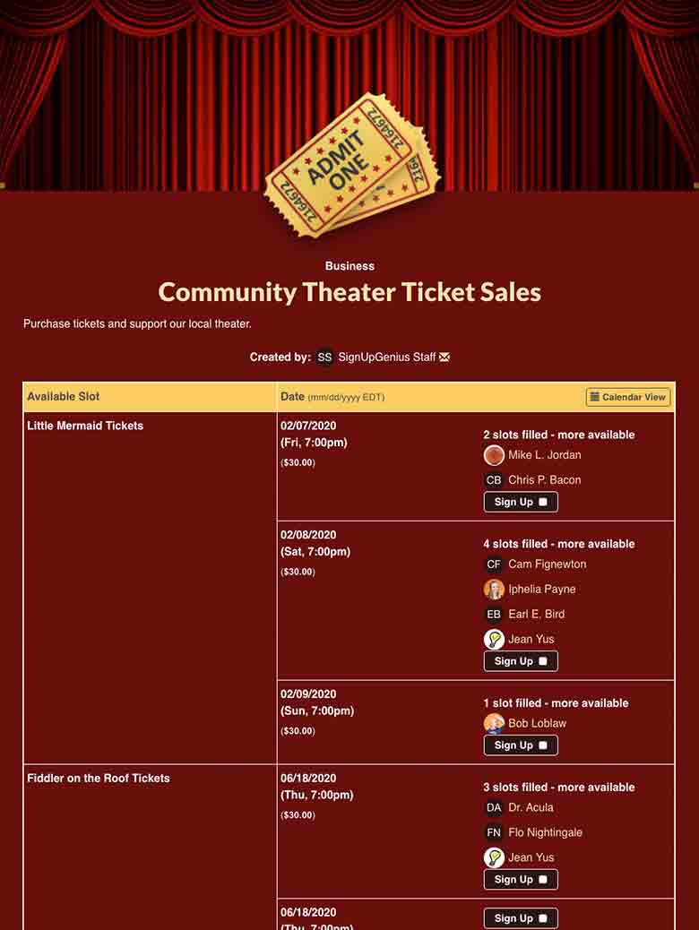 Sell Tickets for Plays and Musicals