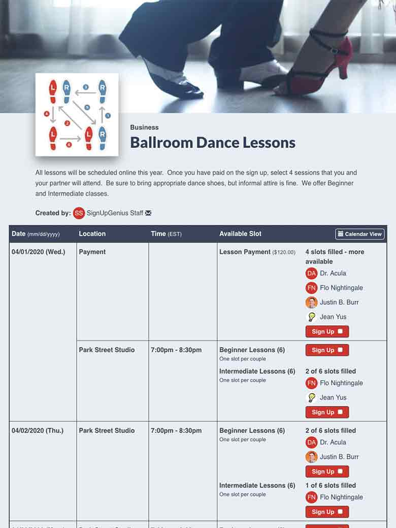 Schedule Dance Classes