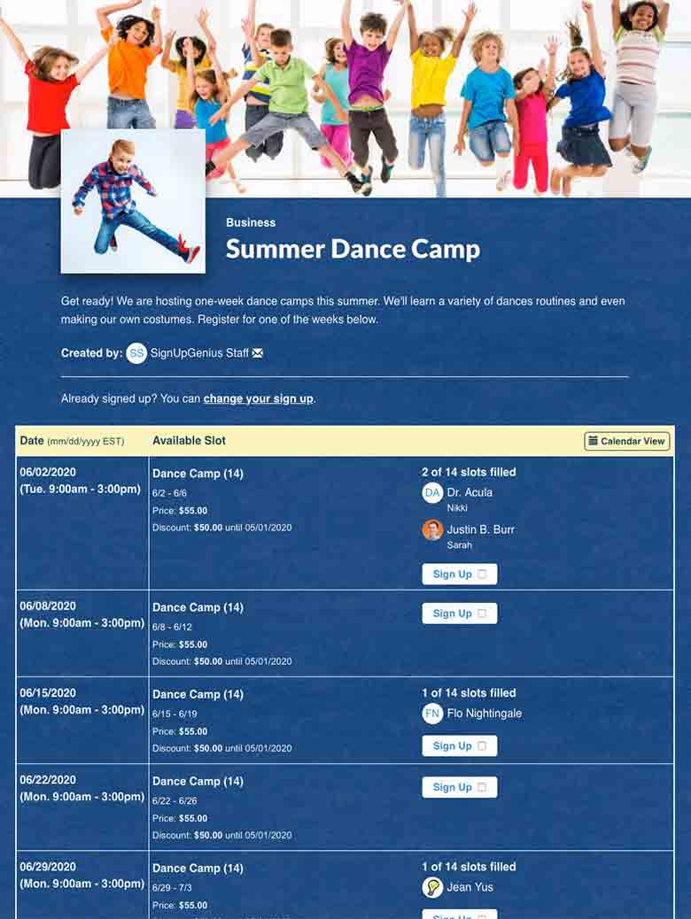 Register Dance Camp Participants