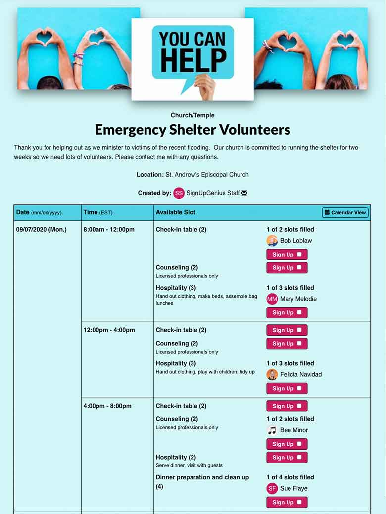 Organize Emergency Shelters