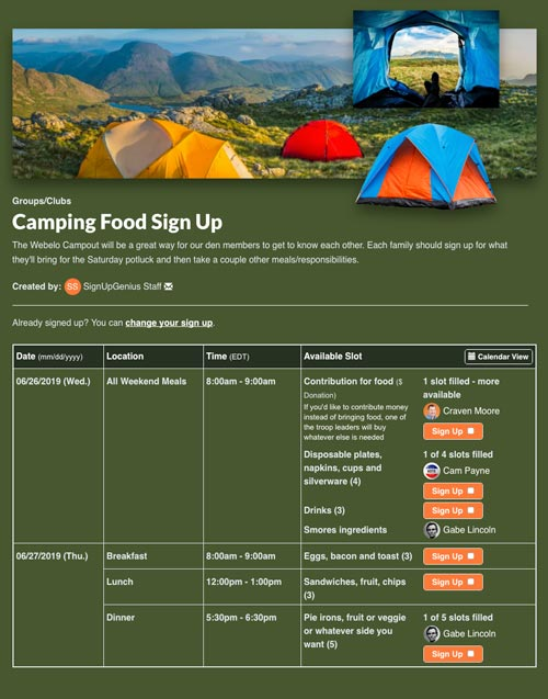 Collect camping supplies with an online sign up
