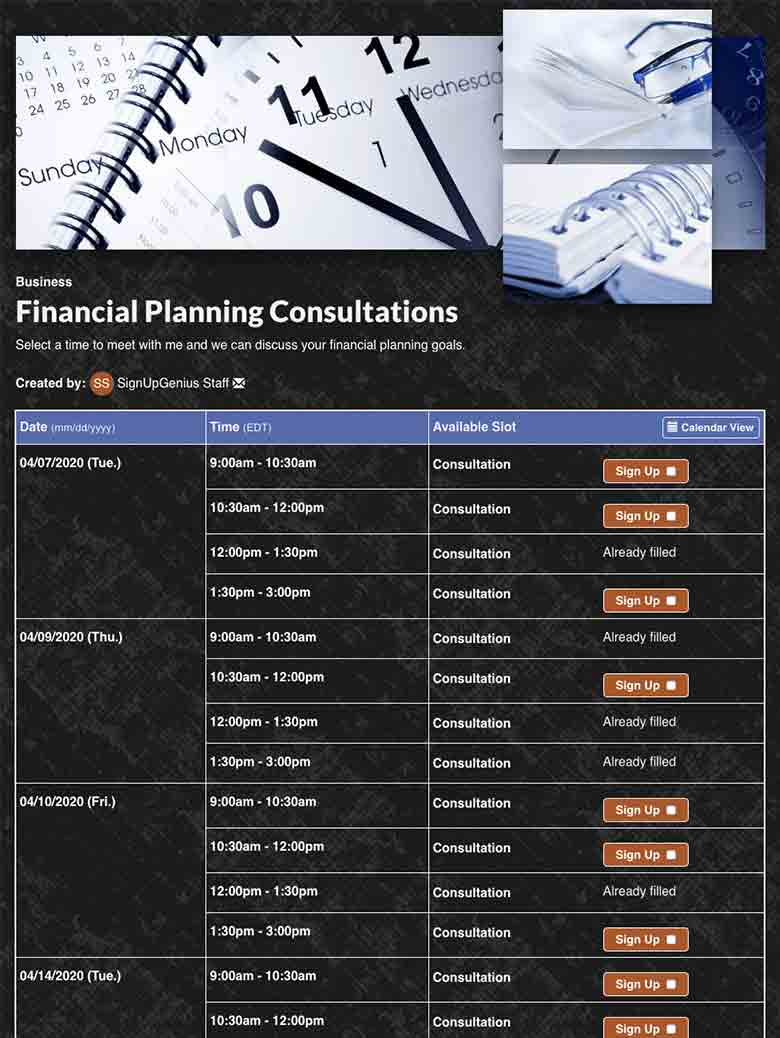 Schedule Financial Planning Appointments