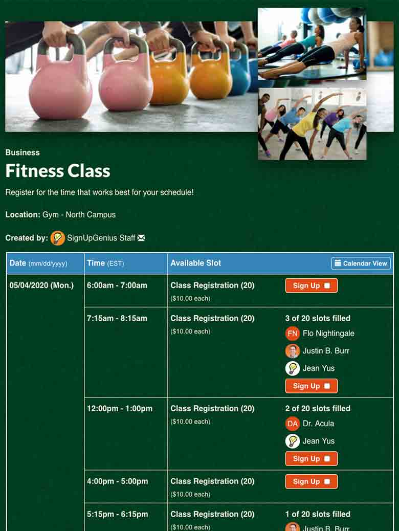 Schedule Group Fitness Classes