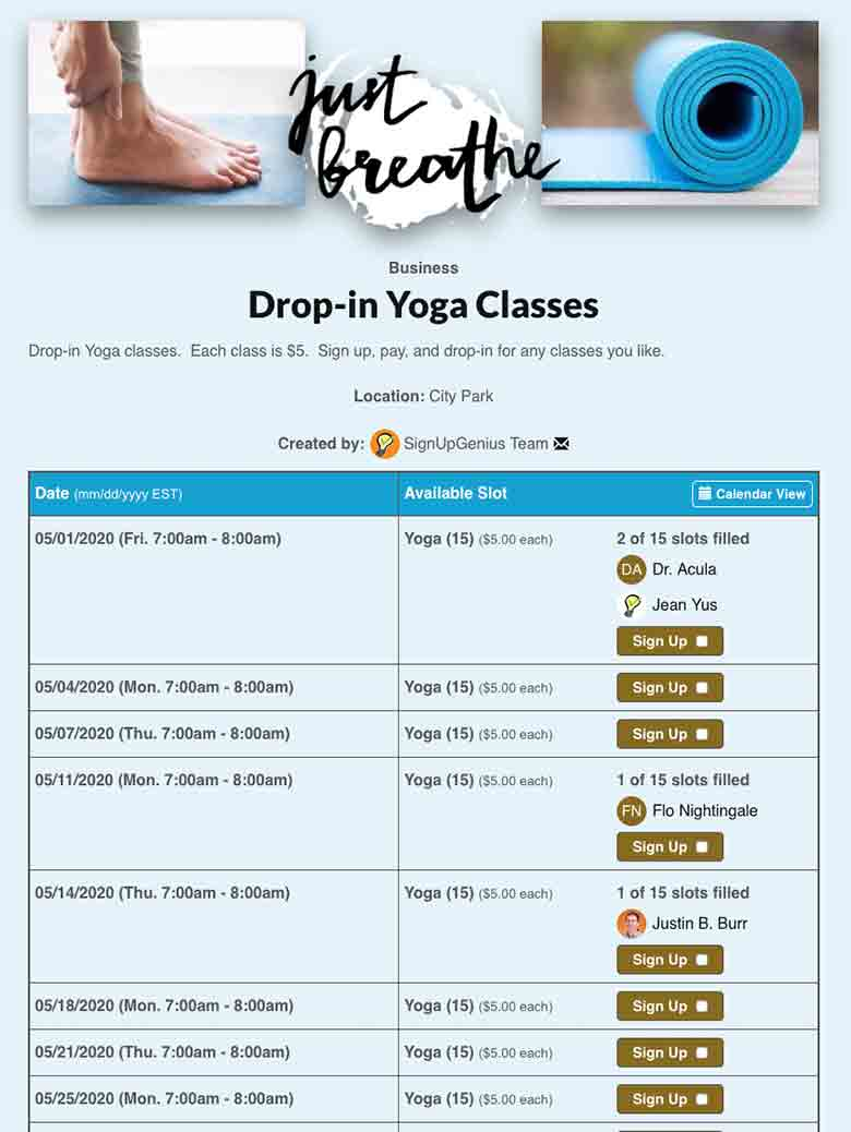 Schedule Yoga or Pilates Classes