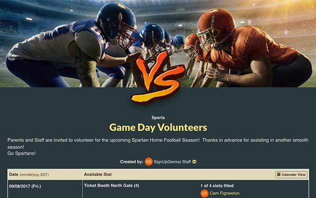 Manage Game Day Volunteers