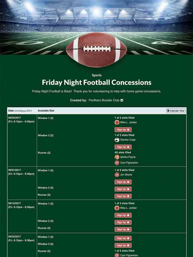 Schedule Concession Stand Volunteers