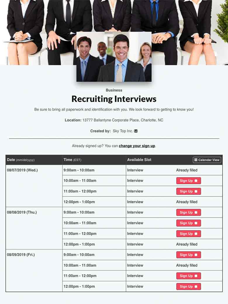 Schedule Interviews for Recruitment