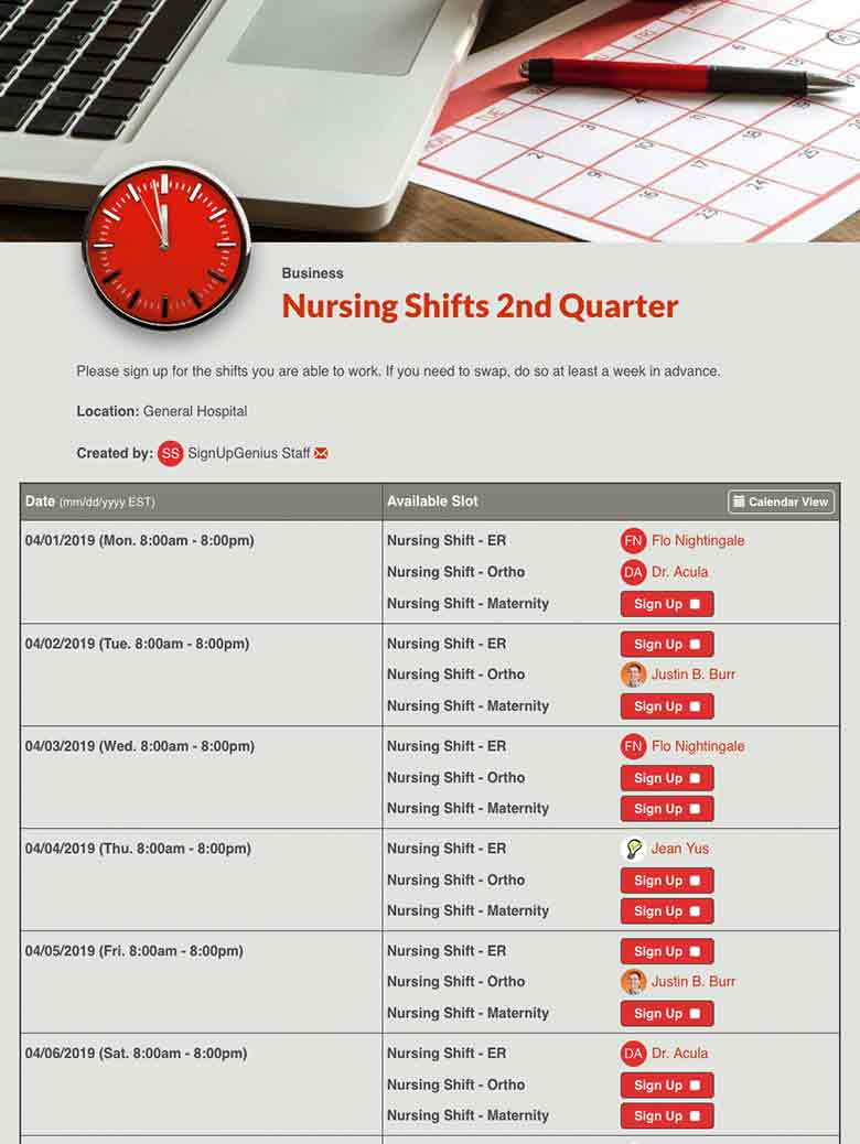 Schedule Employee Shifts