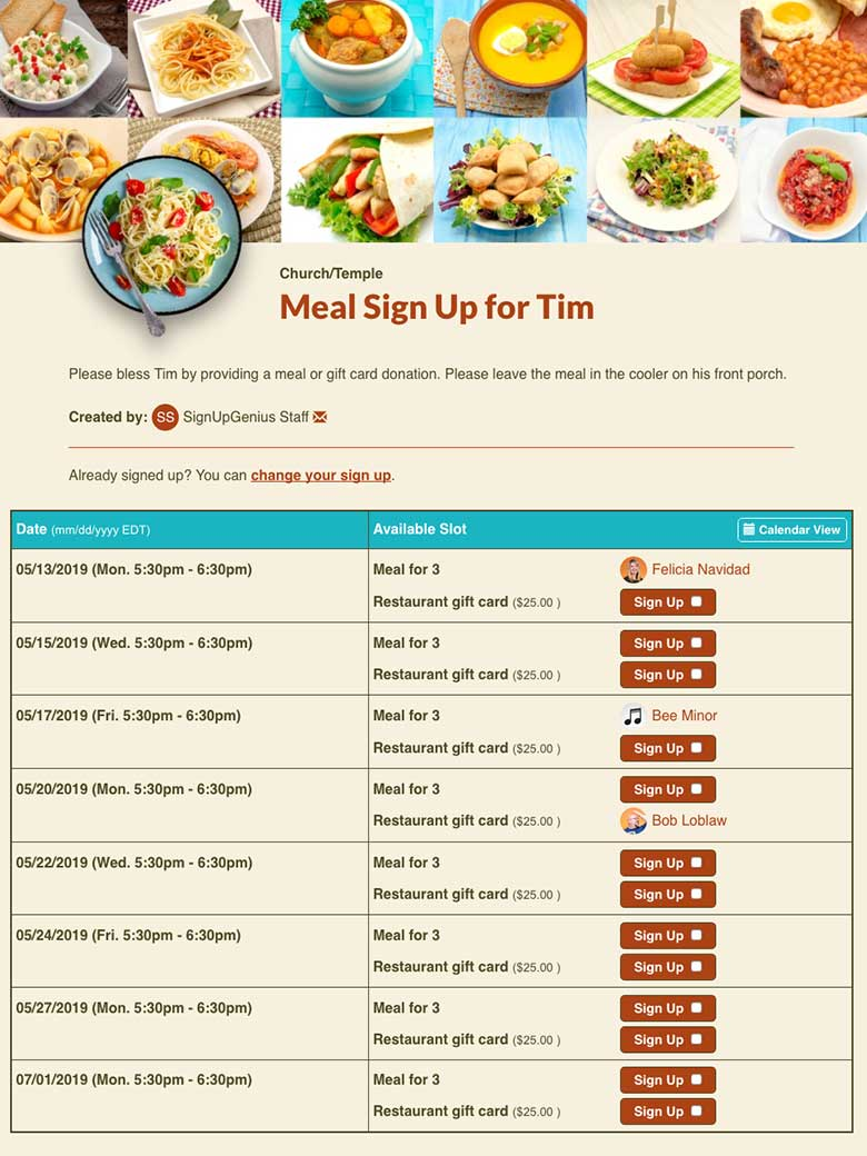 Meal Sign Ups Organize Meals Online For Free