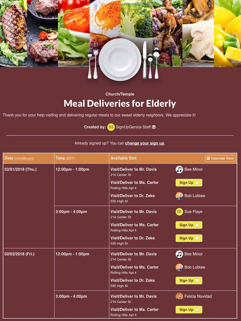 Organize Meal Deliveries for Elderly