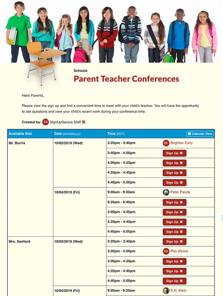 Parent Teacher Conference Sign Up Sheets – Conference Sign Up Sheet Template