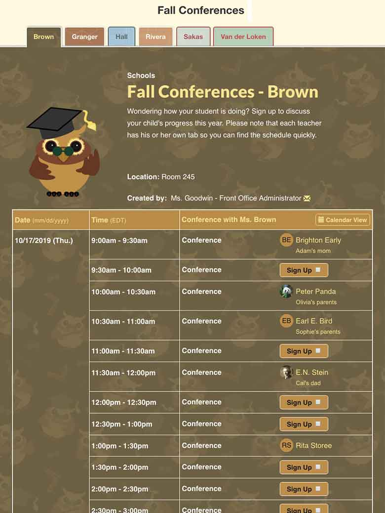 Sort Conferences by Teacher