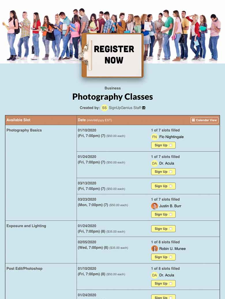 Schedule Photography Classes