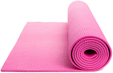 rolled up pink yoga mat