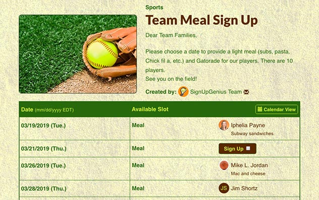 Organize an easy sports team meal with a potluck sign up.