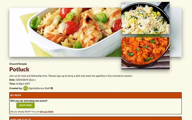 Plan a potluck or church picnic with a sign up that lets people bring their favorite recipes.