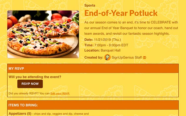 Gather RSVPs with online invitations for an end-of-season sports party.
