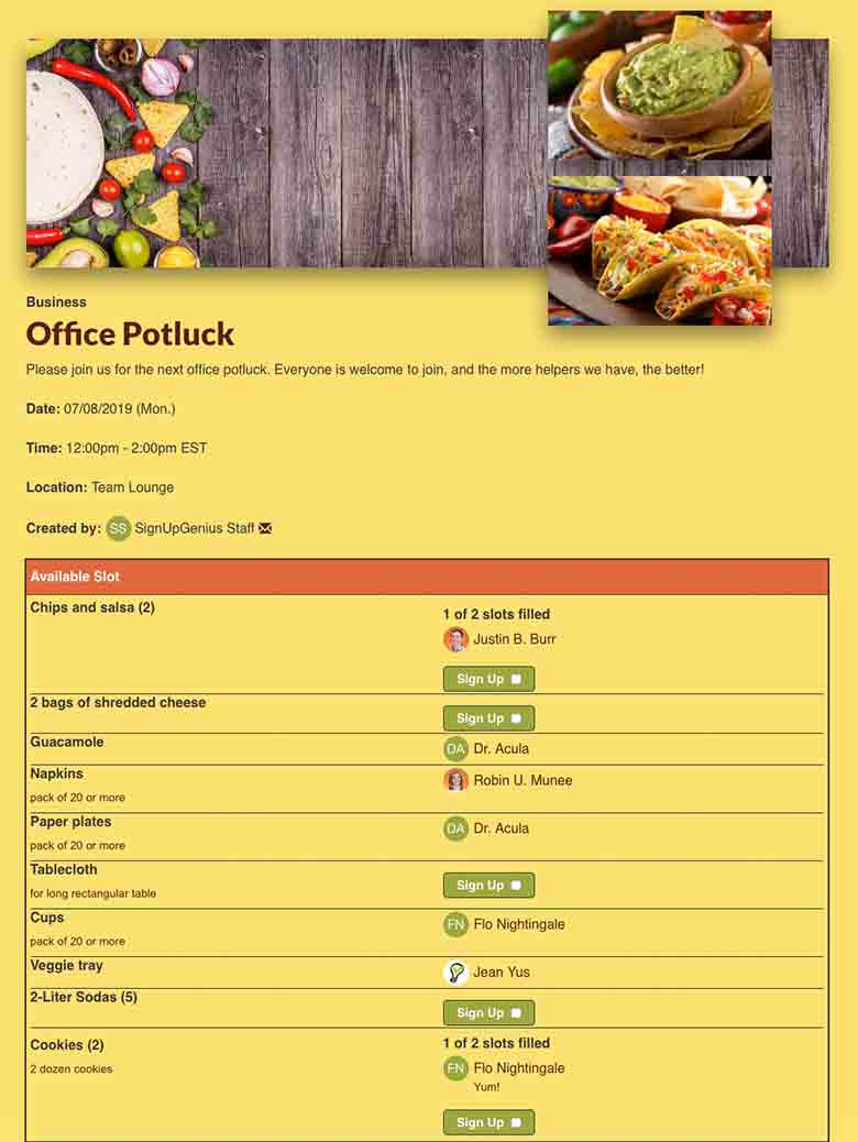 Organize An Office Party With Online Potluck Sign Up To Coordinate Food