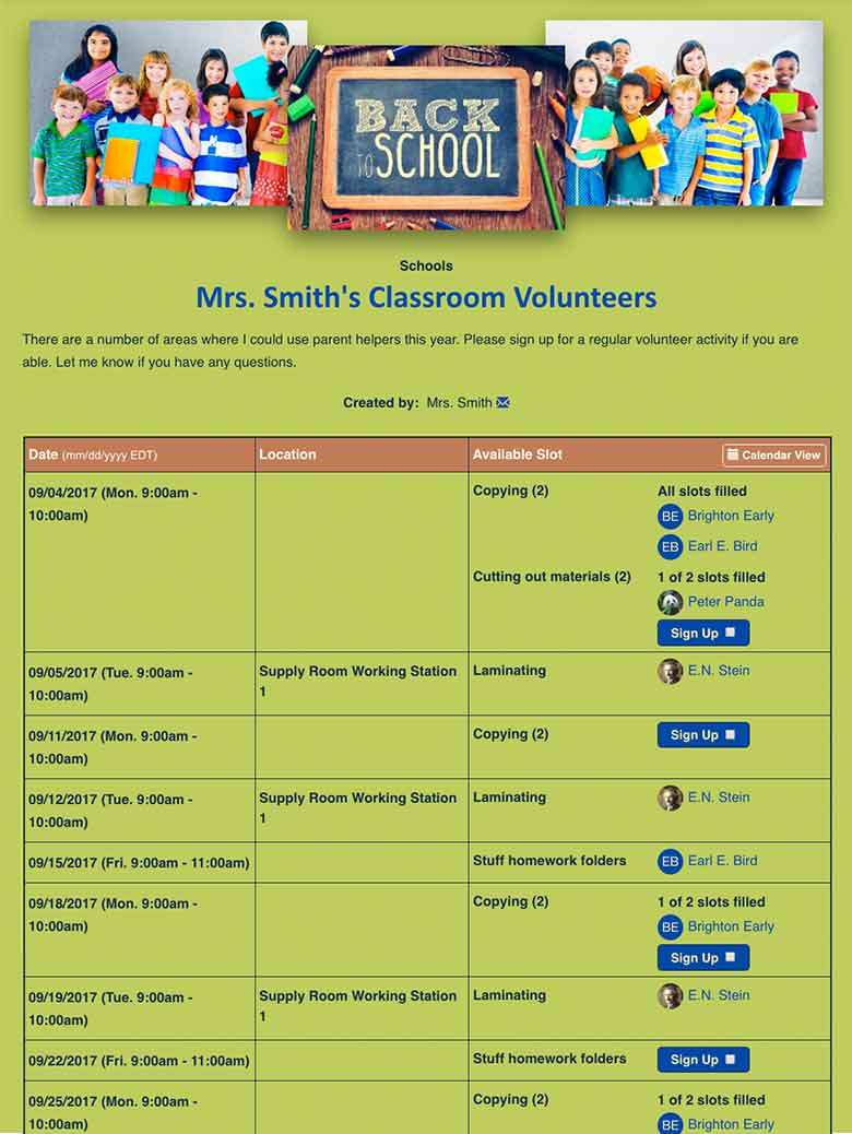 Manage School Volunteers