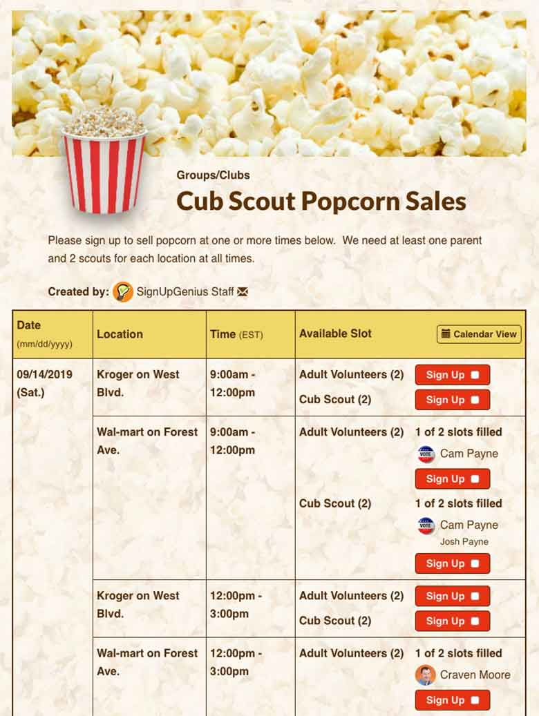 Manage Popcorn Sale Booths