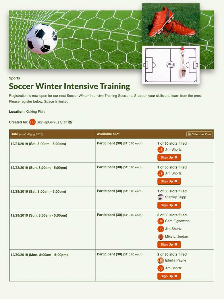 Manage Soccer Training Sessions