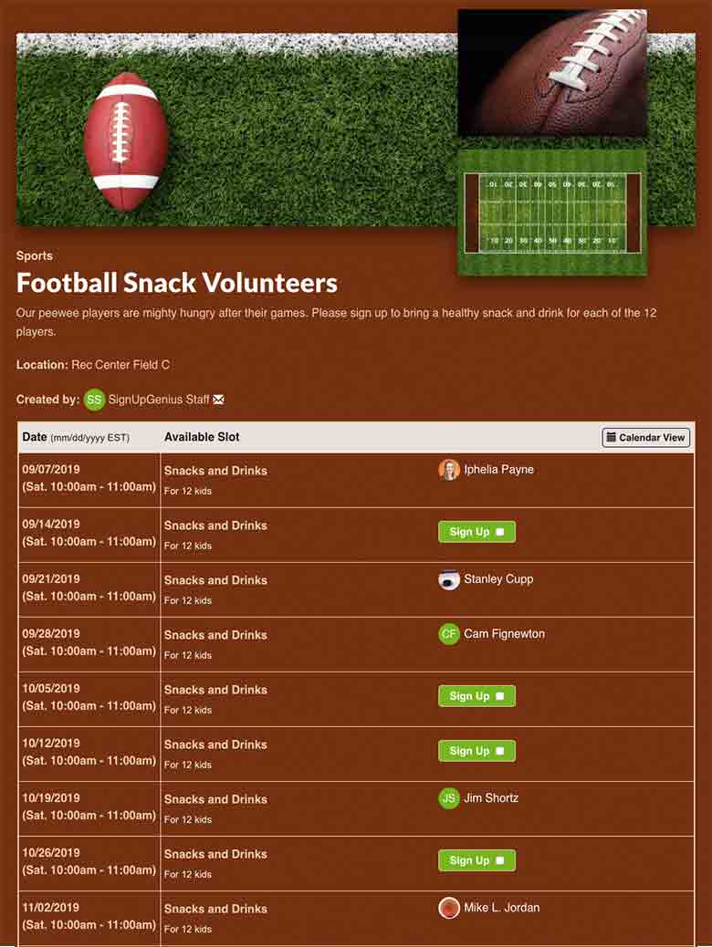 sports sign up sheets organize games and volunteers