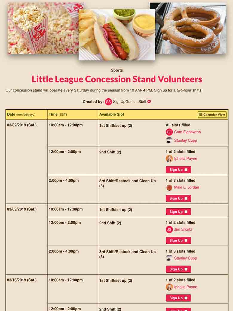 Manage Concession Stands