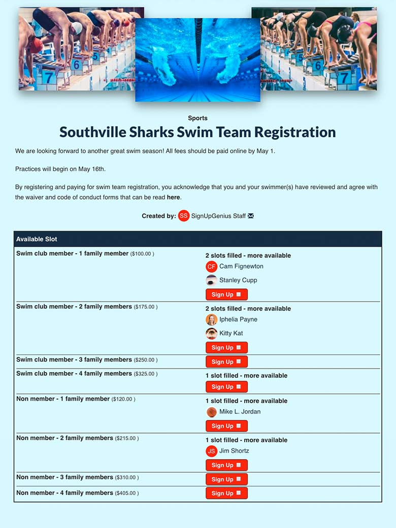 Register Swim Team Participants