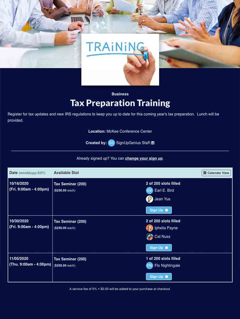Schedule Tax Preparation Training