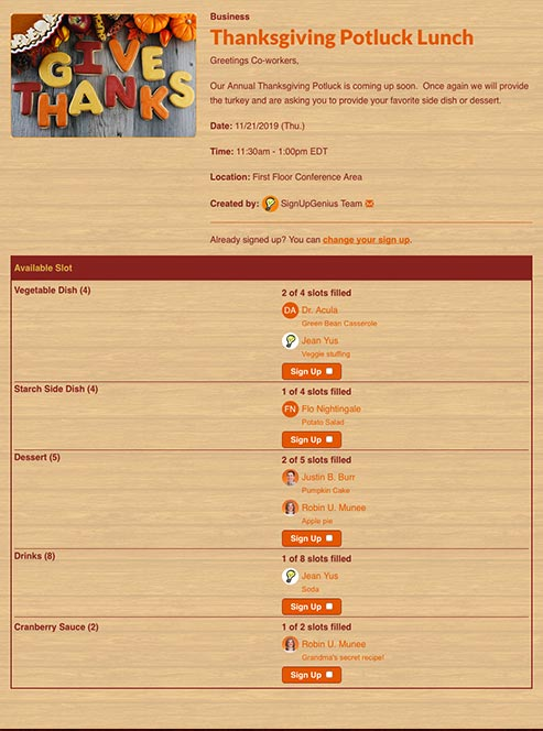 Thanksgiving sign ups for potlucks parties and more for Thanksgiving potluck signup sheet template