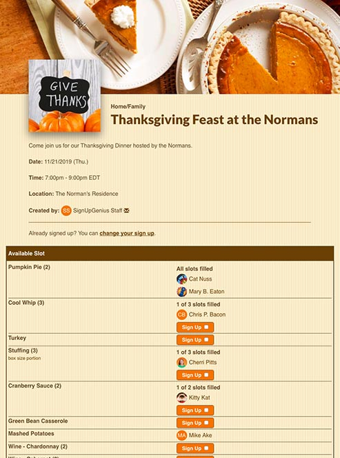 Thanksgiving Sign Ups For Potlucks Parties And More