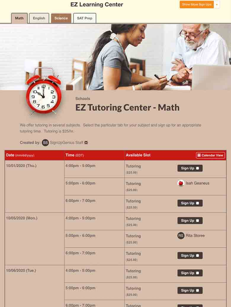 Manage Tutoring Appointments