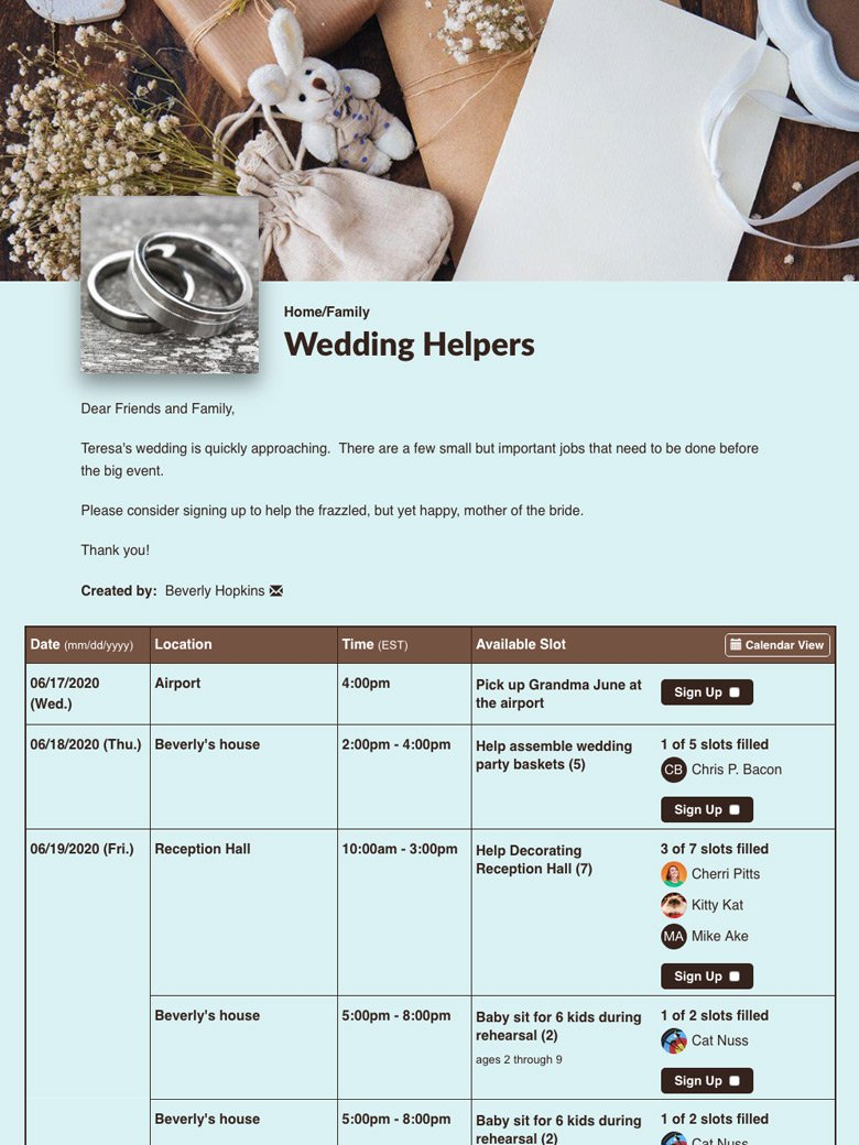 Recruit Help with a Wedding Checklist