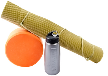 yoga mat with foam roller and water bottle
