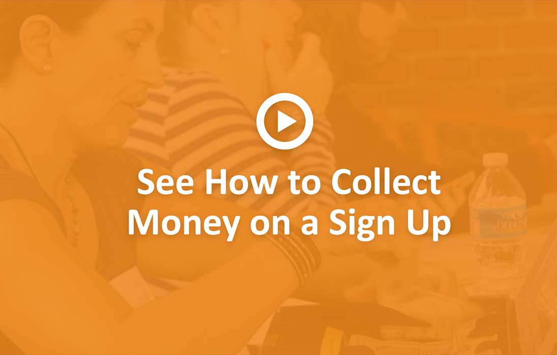 collect money on a sign up